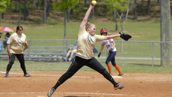 Vincent's Makalla Odom pitched the Yellow Jackets to two wins over Fultondale to win the Class 2A, Area 10 tournament April 30. (Reporter photo/Mickel Ponthieux)