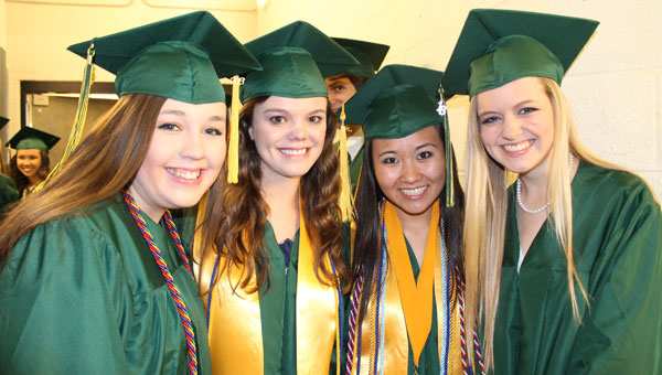 Pelham High School graduates, from left, Courtney Boutwell, Brittany Horton, Kelly Nguyen and Megan Harris. (Contributed)