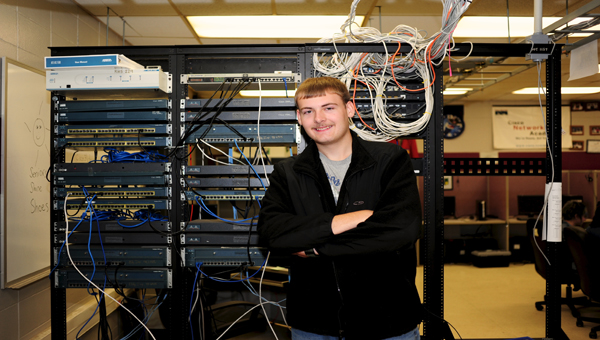 Shelby County School of Technology student Matthew Templin built his first computer at 14 years old. (Reporter Photo/Jon Goering)