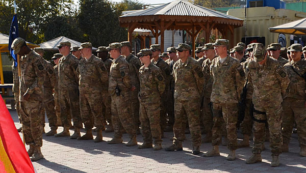 The Pelham-based Bravo Company of the 1/167th Infantry Division of the Alabama National Guard conducts a transfer of authority ceremony at Camp Eggers in Kabul, Afghanistan, marking the end of its deployment. The company is preparing to return to the United States. (Contributed)