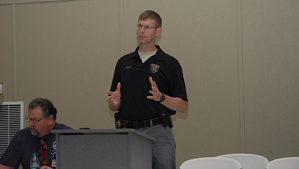 Shelby County Drug Enforcement Task Force Cmdr. Kevin Turner speaks during a May 16 Drug Free Coalition Meeting at Family Connection in Saginaw. (Reporter Photo/Neal Wagner)