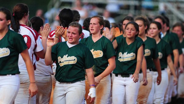 A disappointed Pelham team congratulates Sparkman after losing in the AHSAA Class 6A State Championship game in Montgomery on May 17. (Reporter Photo/Jon Goering)