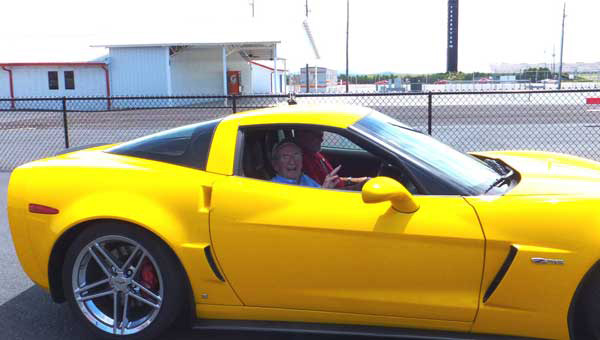Somerby resident Bill Morgan took a ride around the Talladega Motor Speedway during a Vettes 4 Vets event over the Memorial Day weekend. (Contributed.)