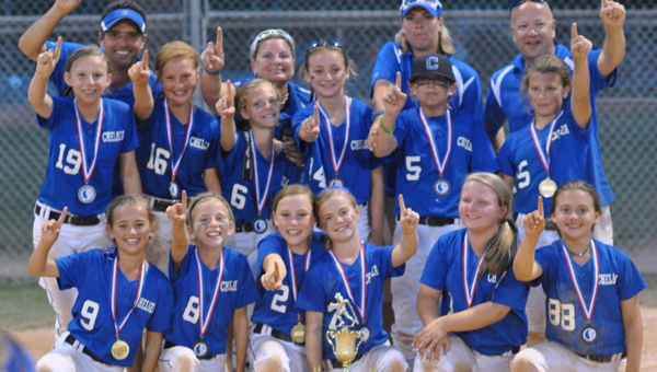 The Chelsea 10U Softball team upset top seed North Chilton to win the 10U South Central Area Championship Tournament held in Clanton June 20-22. (Contributed/Gavin Hensley)
