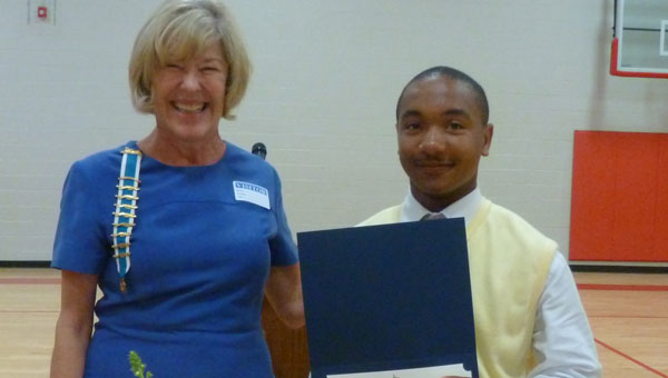 DAR David Lindsay member Karen Jenson presented Nicholas Chapple, an eighth grader at Columbiana Middle School, with the DAR Good Citizenship Award. (contributed)