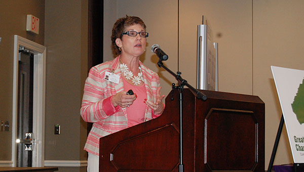 Shelby County Schools Career Tech Coordinator Rene' Day speaks during a June 26 Greater Shelby County Chamber of Commerce lunch at the Pelham Civic Complex and Ice Arena. (Reporter Photo/Neal Wagner)