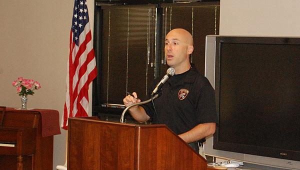 Shelby County Drug Enforcement Task Force member Josh Rauch speaks at the Pelham Senior Center on June 20. (Reporter Photo/Neal Wagner)