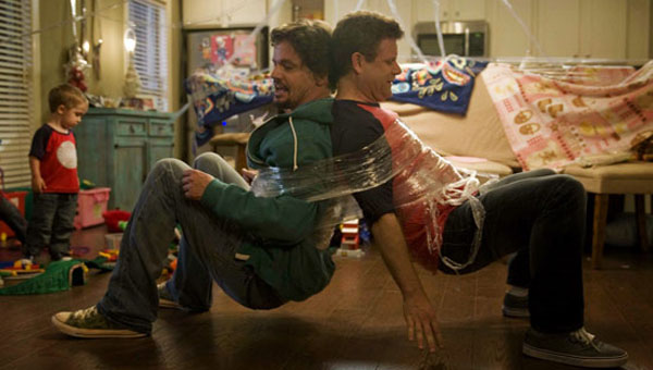 Sean Astin (right) and Kevin Downes get all wrapped up in the joys—and challenges—of parenting in Moms' Night Out, a new movie directed by Shelby County natives Jon and Andrew Erwin.  (Contributed)
