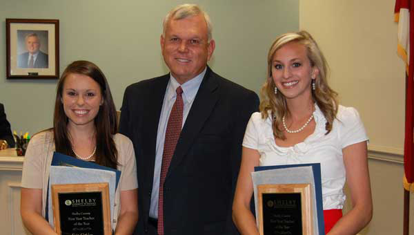 The Shelby County Board of Education recognized the First Year Teachers of the Year during its June 7 meeting at the Central Office in Columbiana. From left, Erin Golden, Superintendent Randy Fuller and Allison Bengston. (Photo by Katie McDowell/For the Reporter.)