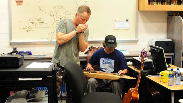 Bruce Andrews and George Dudley, members of 2Blu and the Lucky Stiffs, perform and talk about music with the kids at the Shelby County Juvenile Detention Facility on June 4. (Reporter Photo/Jon Goering)