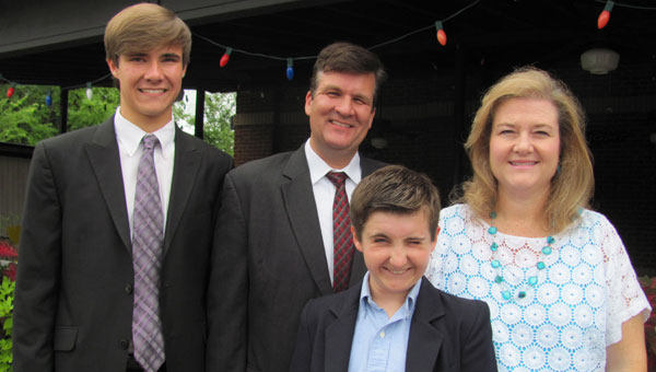 Randy Jamerson is preacher of Elliottsville Church of Christ. He is pictured, second from left, with his family:  Ethan, Brandon and Jerrell. (contributed)