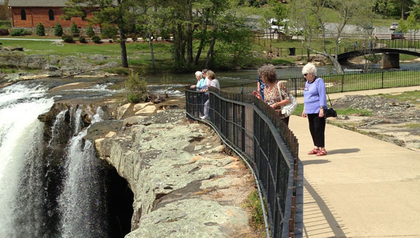 North Shelby Baptist Church seniors enjoy a visit to Noccalula falls. Front to back are Sherry Hartman, Jean Tate, Jo Ann Hyde, Mary Murphy, Lori Ogle. (contributed)
