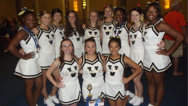 The Vincent High School varsity cheerleaders particpated in the Universal Cheer Association Camp July 14-17, earning an invitation to perform at halftime of the 2014 Capital One Bowl in Orlando, Fla.