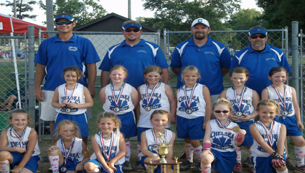 The Chelsea 6U Softball All-Stars captured the USSSA 6U South Central Area championship in Clanton June 22.