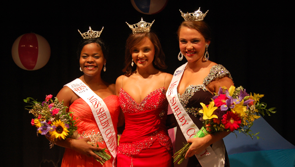 Mikaylah Dugans, left, was crowned Miss Shelby County Outstanding Teen July 19. Holland Brown, right, was crowned Miss Shelby County. Chandler Champion, center, was the Mistress of Ceremonies and is the current Miss Alabama. (Reporter Photo/Stephanie Brumfield)