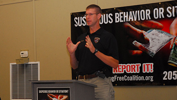 Shelby County Drug Enforcement Task Force Commander Lt. Kevin Turner speaks during a July 18 meeting of the Shelby County Drug Free Coalition. (Reporter Photo/Neal Wagner)