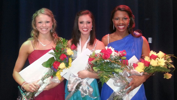 The Shelby County Distinguished Young Woman program was held July 27 at Oak Mountain High School. From left, First Alternate Melissa Mathews, 2014 Distinguished Young Woman Madeline Powell and Second Alternate Myrah Taylor. (Photo by Clarke Stackhouse.)