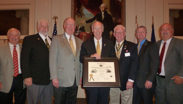 Gov. Robert J. Bentley, lineal descendant of Revolutionary War patriot John Horton,  holds his SAR membership certificate that he received at the 10th anniversary of the ASSAR Cahaba-Coosa Chapter. Attending the celebration were other Horton's descendants: 5th great-grandsons Roger Massey, Danny Massey, David Nolen; 4th great-grandsons Gov. Bentley and Bobby Joe Seales; and 5th great-grandsons Mike Seales and Terry Massey (left to right). (contributed)