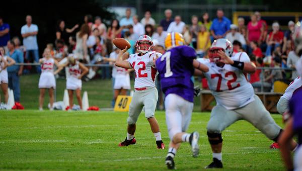 Coosa Valley quarterback Zach Spratlin fires a pass in a 50-14 win over Cornerstone Aug. 23. (Reporter Photo/Jon Goering)