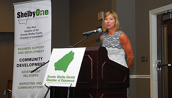 Shelby County Arts Council Executive Director Terri Sullivan speaks during an Aug. 28 Greater Shelby County Chamber of Commerce luncheon. (Reporter Photo/Neal Wagner)