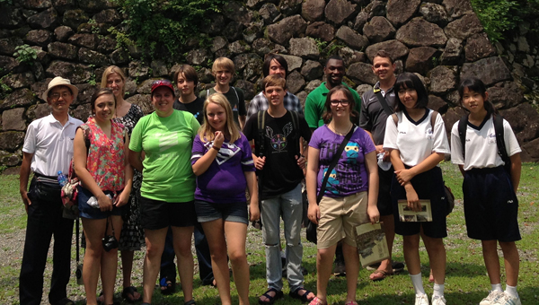A group of three adults and eight students travelled from Montevallo to Echizen, Japan July 17-27. Pictured starting in back from left to right: Tour guide for Ono City, Mayor Hollie Cost, Eli Cost, Alex Barnett, Cebastian Cardozo, Devon Cartwell, Vinny Chiaramonte, Sydney Selman, Kelli Bennitt, Nicholas Caine, Mary Purvis and two Japanese students. (Contributed photo)