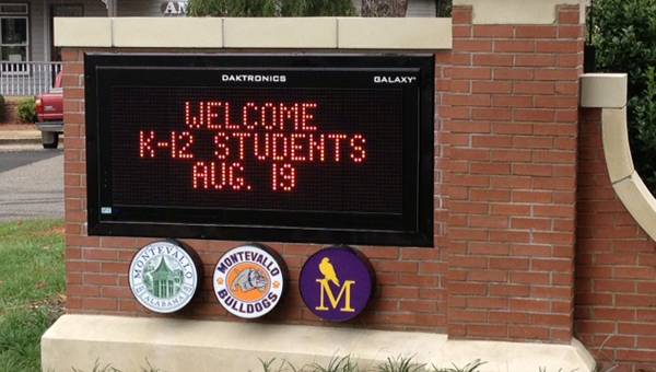 Montevallo High School received a new, electronic sign this summer, among other renovations. (Contributed)