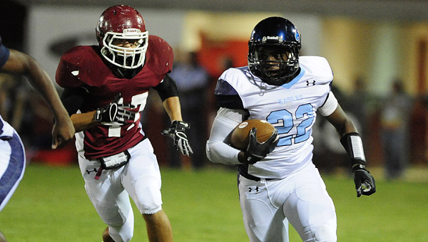 Calera running back Shakeith Tyes breaks free for a run during the first half of Friday's game against Shelby County. (Reporter Photo/Jon Goering)