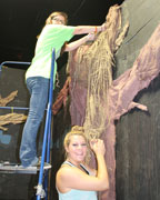 Pelham High School theater students help create spooky sets at Pelham's Warehouse 31 on Lee Street. (Contributed)