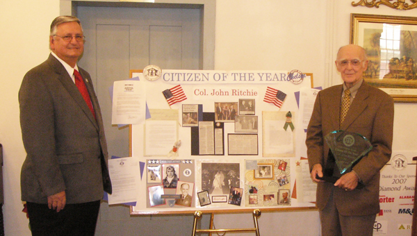 Long-time Chelsea city council member and founder Colonel John Ritchie, right, was named Citizen of the Year by the South Shelby Chamber of Commerce in 2007. (Contributed)
