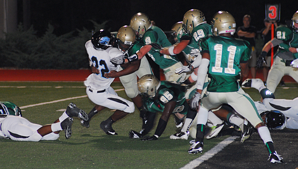 Pelham's defense makes a goal line stand against the visiting Northridge Jaguars during the Panthers' 49-40 win over the Jaguars on Sept. 27 at Ned Bearden Stadium. (Reporter Photo/Neal Wagner)