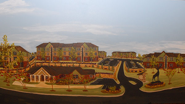 An artist's rendition of The Grand Reserve apartment complex proposed for Huntley Parkway. (File)