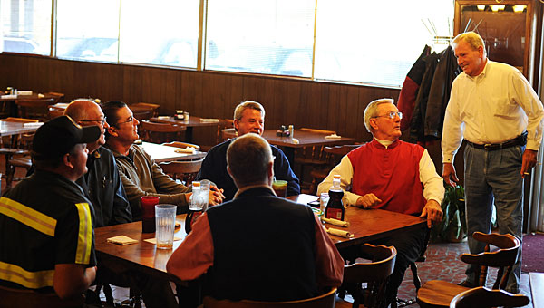 From front, clockwise, Mike Phillips, Howard Wheeler, Jerry Payne, Howard Bailey, Woody Quinn, Neil Bailey and Larry Rollan enjoy breakfast at Fran's in 2012. The restaurant will close its doors after Sept. 27. (File)
