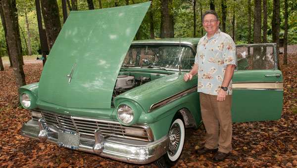 Stan Stepletons and Miss Apple Perry, his Ford Fairlane 500, recently attended a Birmingham Motoring Club event in Helena. (Contributed.)
