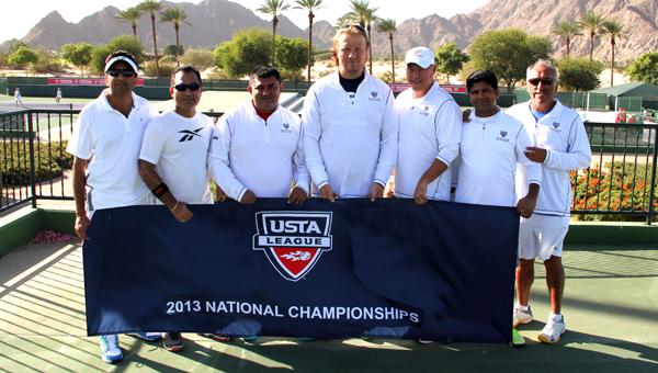 The members of the Pelham Raquet Club team that finished second at the USTA League National Championship Tournament: Rohen Porbanderwala, Rafique Dhanani, Karim Jiwani, Jan Bartos, Mark Partain, Sultan Maredia and Omar Alcaino.