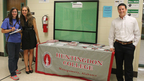 PHS Senior Samantha Kusiak, left, meets with Huntingdon College representatives Kate Garrigan and Grant Hayes at the PHS Fall College and Career Fair. (Contributed)