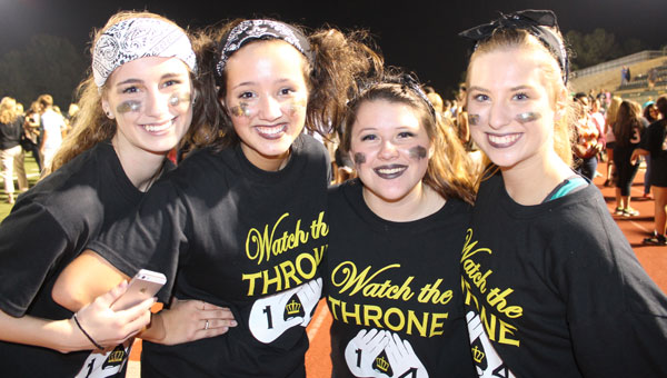 PHS seniors, from left, Cokie Palmer, Haley Giffin, Mattingly Dramer and Kaitlin Moon celebrate their Powder Puff win during Homecoming week at PHS. (Contributed)