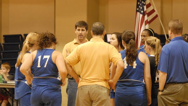 Hope Christian head coach Steve Howe breaks down a play during a timeout in a first round ACSC playoff matc Oct. 22. (Reporter Photo/Drew Granthum)