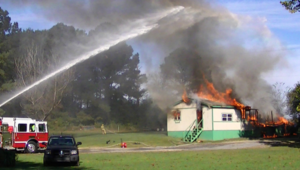 A residence on Gunlock Road in Wilton caught fire in the early morning hours of Oct. 18, killing two. (Contributed)
