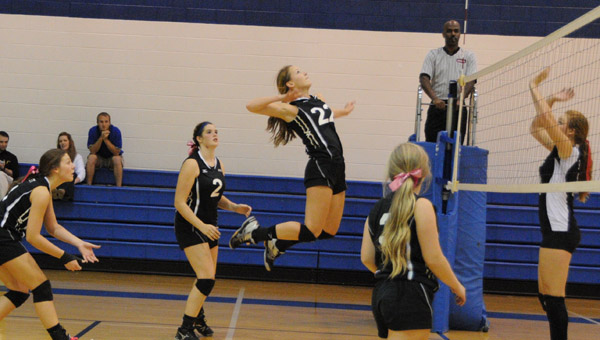 Kingwood's Madelyn Pearce goes up for a spike in an Oct. 1. matchup with Cornerstone. (Contributed/Diane Cunningham)