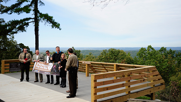 State, county and Oak Mountian State Park officials celebrate the opening of the new Peavine overlook area at the park on Oct. 24. (Reporter Photo/Jon Goering)