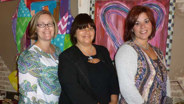 South Shelby Relay for Life Co-Chair Helen Dean, Chair Mary Strehle and Trina Stogner plan the Relay's kick-off party on Thursday, Nov. 7 at 6 p.m. at Stogner's Color Outside the Lines store in Columbiana.