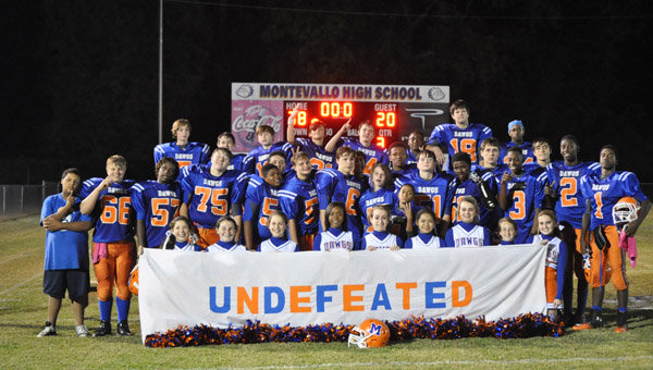 The 2013 Montevallo Middle Bulldogs finished the season undefeated. The team of 26 players finished with an 8-0 record. (Contributed)