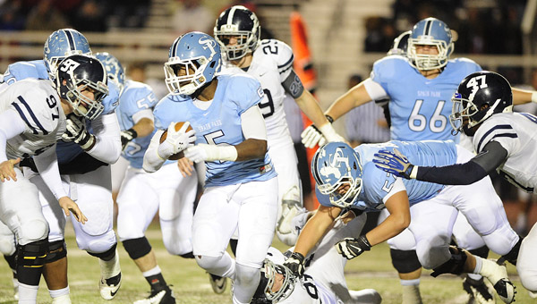 Spain Park running back Otis Harris looks for room to run in a 30-27 loss in the first round of the AHSAA Class 6A playoffs Nov. 8. (Contributed/Clayton Hurdle)