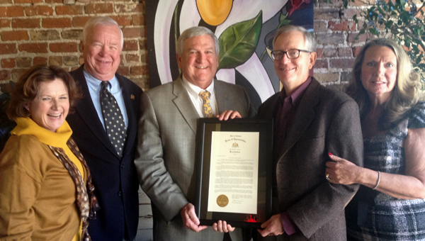 Sally Cox, Shelby County Sheriff Chris Curry, state Rep. Mike Hill, John Ellison and Jane Ellison at Bernie's on Main in Columbiana, where Ellison was honored with a resolution by the Alabama House of Representatives. (Contributed)