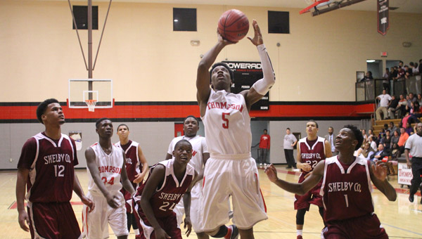 Thompson's Rashad Strother goes up for a layup in a Nov. 12 matchup with Shelby County. (Contributed/Eric Starling)