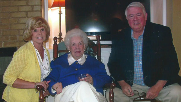 From left, Peggy Kent, Bessie Barclay and Don Hurt at Barclay's recent 90th birthday party in Alabaster. (Contributed)