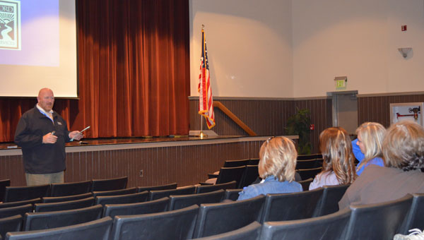 Lonnie Layton of Bradford Health Services addresses Montevallo schools' PTO members at the first community PTO meeting. (contributed)