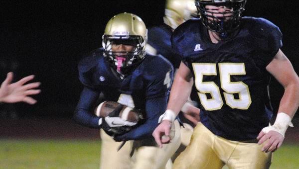 Briarwood running back Victor Jerald looks for room in a win over Pinson Valley on Nov. 1. (Contributed/Clayton Hurdle)