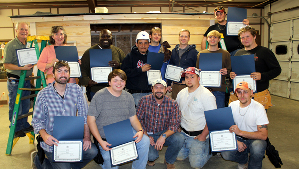 Thirteen students earned a construction certificate after completing an eight-week carpentry class at the College and Career Center in Columbiana. Participants were Blake Berry, Eddie Guerrero, Tommy Robershaw, Zach Talley, Robert Lawley, Torail Jackson, Dave Ellis, Larry Mosher, Ryan Stevens, Kyle Glover, Craig Moncus, Nathan Triplett, and Hettie Wagner. (Contributed)