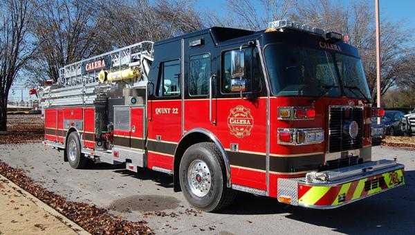 A new multi-purpose fire truck, called a quint, arrived in Calera Nov. 27. (Reporter Photo/Stephanie Brumfield)